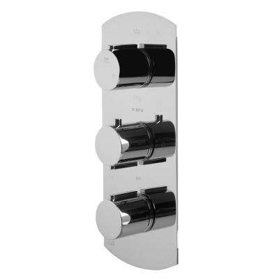3-Handle Shower Mixer with Sleek Modern Design in Polished Chrome