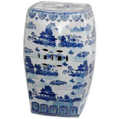 Oriental Furniture 18 in. Square Landscape Blue and White Porcelain Garden Stool