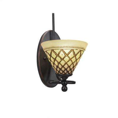 1-Light Dark Granite Sconce with Chocolate Ribbed Glass
