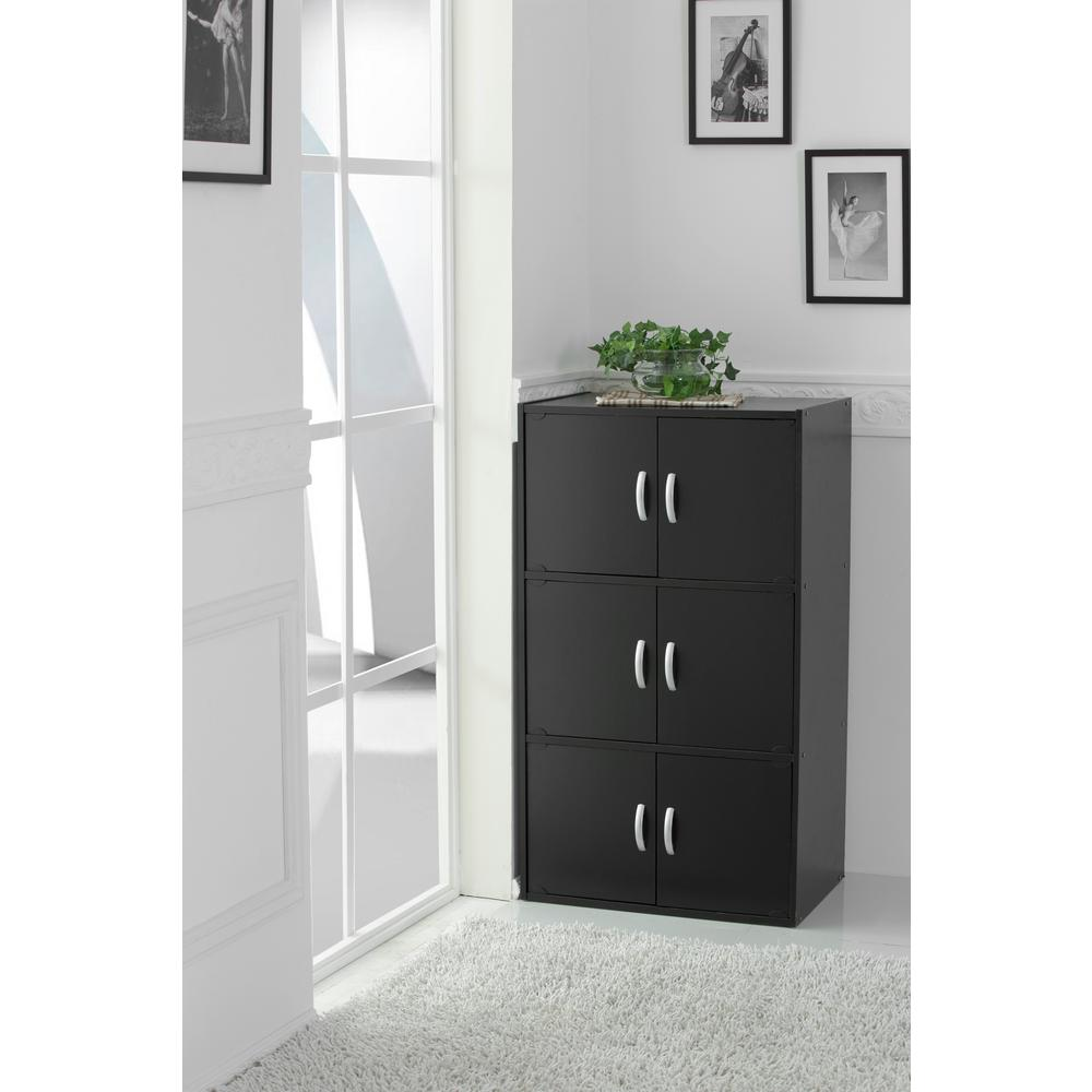 hodedah 3 shelf 41 in h black bookcase with double doors hid33 black the home depot. Black Bedroom Furniture Sets. Home Design Ideas