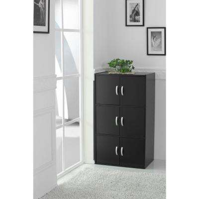 3-Shelf, 41 in. H Black Bookcase with Double Doors