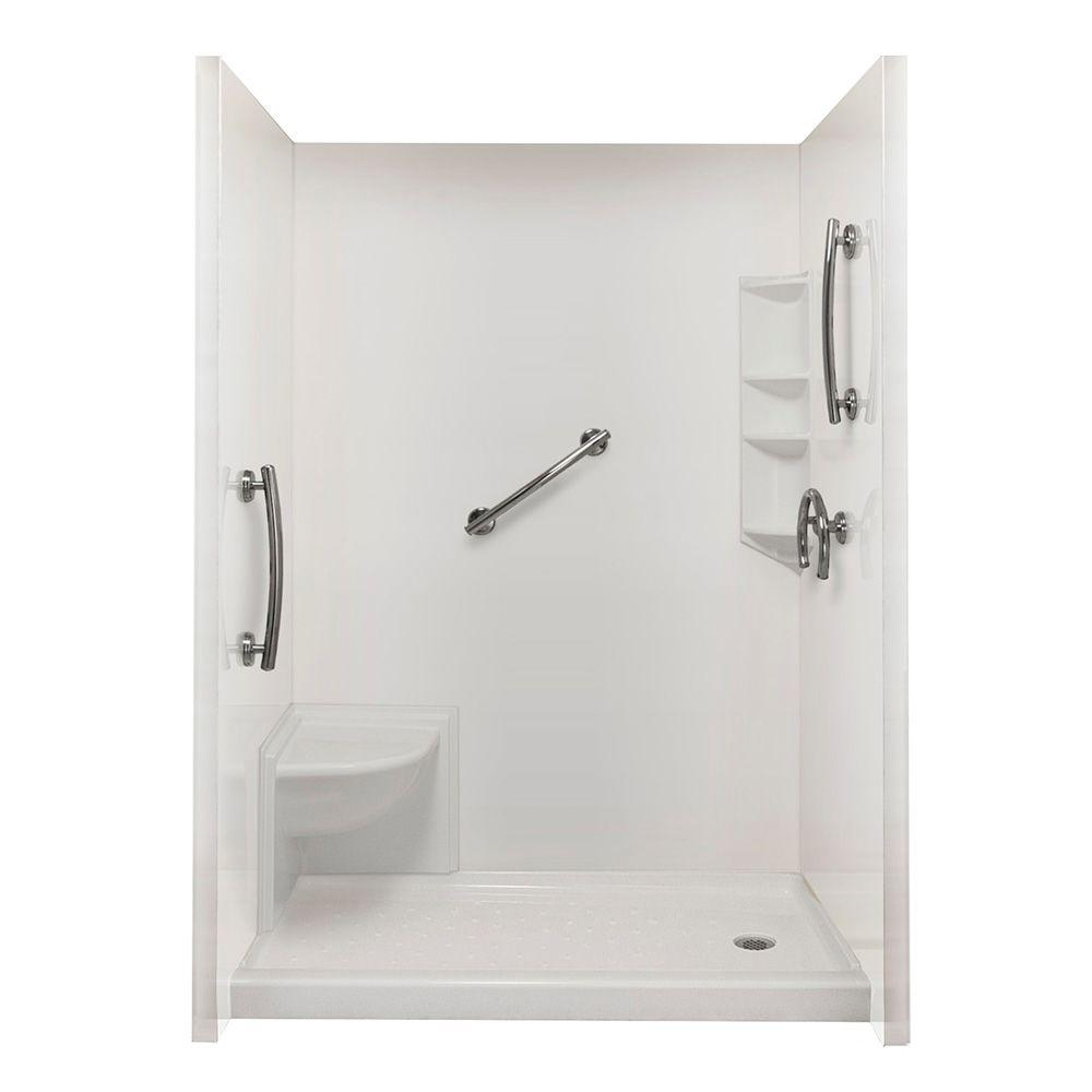Ella Complete Freedom 40 in. x 65 in. x 98.5 in. 3-piece Easy Up Adhesive Shower Surround Package in White