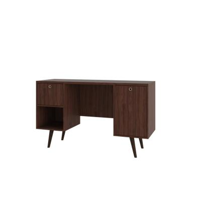 53 in. Rectangular Dark Brown 1 Drawer Computer Desk with Solid Wood Material