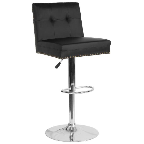 Carnegy Avenue Adjustable Height Black Leather Bar Stool CGA-DS-231720-BL-HD