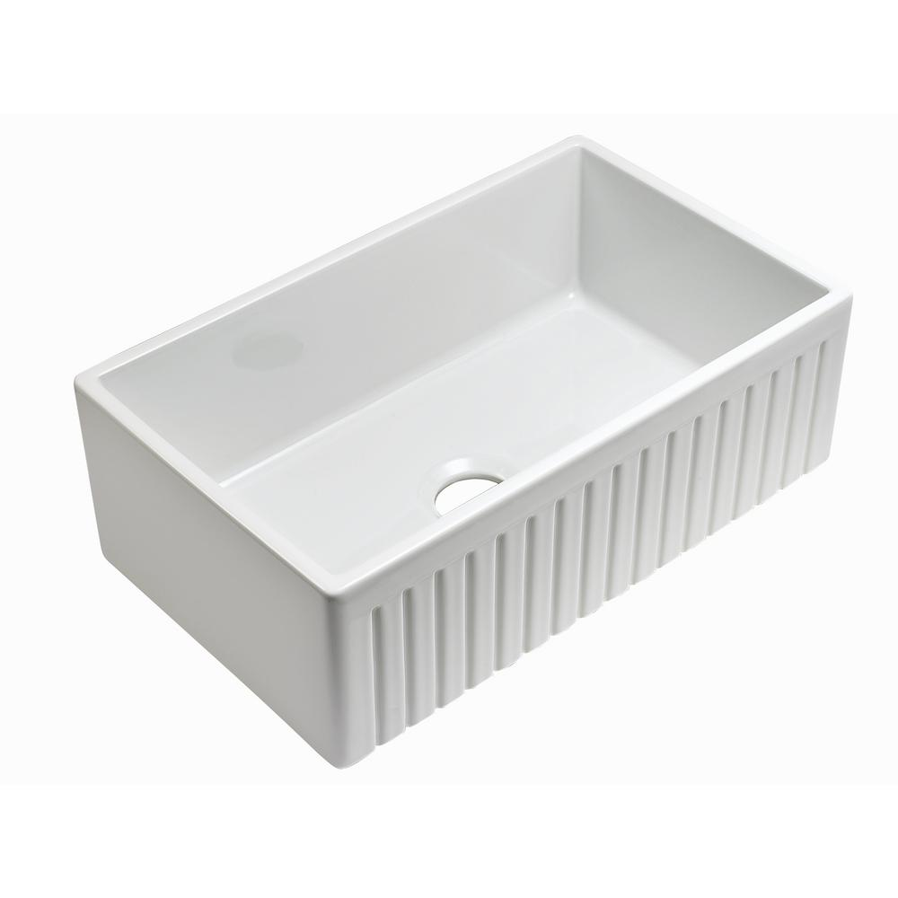 Sutton Place Reversible Fluted Front Farmhouse Fireclay 30 in. Single Bowl