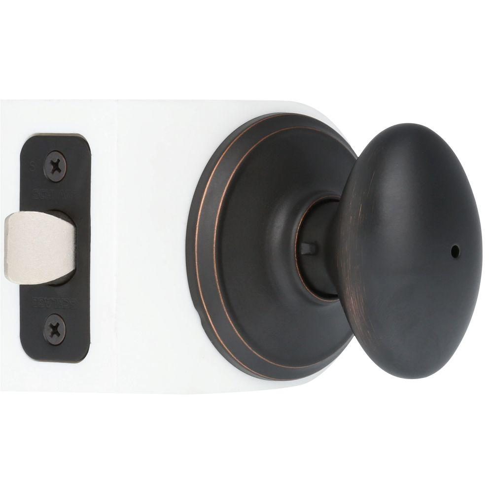 Schlage Siena Aged Bronze Privacy Bed Bath Door Knob F40 Sie 716 The Home Depot