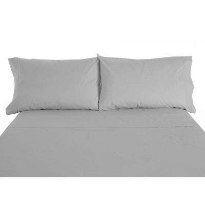 600 Twill 6-Piece Gray Cotton/Polyester Queen Sheet Set