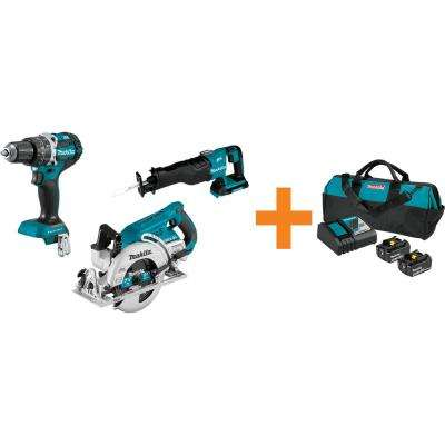 18V LXT 1/2 in. Brushless Hammer Driver-Drill, 7-1/4 in. Circ Saw and Recipro Saw with bonus 18V LXT Starter Pack