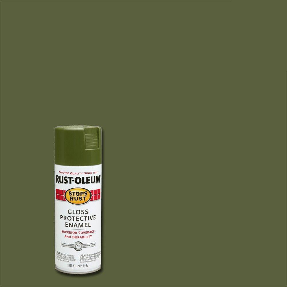 Rust Oleum Stops Rust 12 Oz Protective Enamel Gloss Army