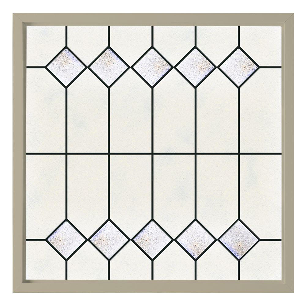 Hy-Lite 47.5 in. x 47.5 in. Mission Decorative Glass Picture Vinyl Window - Tan
