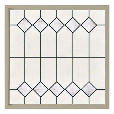 47.5 in. x 47.5 in. Mission Decorative Glass Picture Vinyl Window - Tan