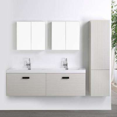 63 in. W x 18.2 in. H Bath Vanity in Gray with Resin Vanity Top in White with White Basin and Mirror