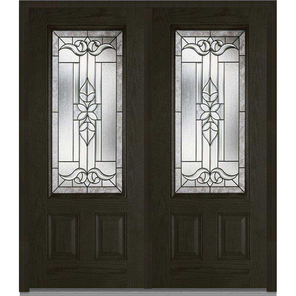 Mmi Door 74 In X In Cadence Decorative Glass 3 4 Lite Finished Fiberglass Oak Exterior