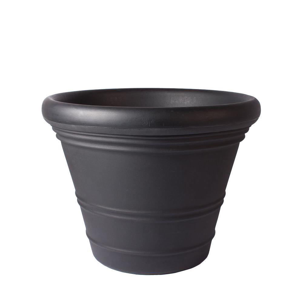 28 in. x 22 in. Black Riviera 28 Plastic Planter