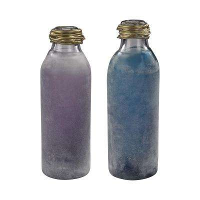 Metal Neck 6 in. x 16 in. Glass Decorative Bottles in Blue and Purple (Set of 2)