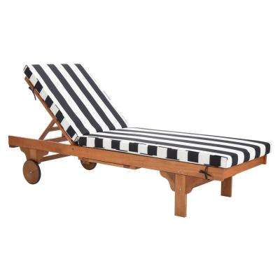 Newport Natural Brown Adjustable Wood Outdoor Lounge Chair with Black and White Cushion
