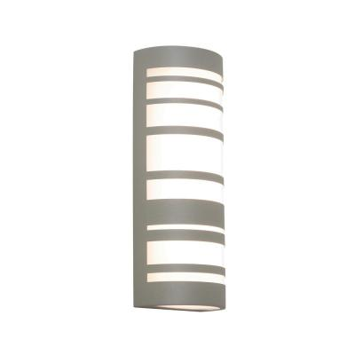 Stack 18 in. Textured Grey Integrated LED Outdoor Wall Lantern Sconce