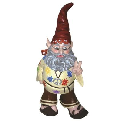 14 in. H 60's Jerry Peace Man Hippie Gnome Home and Garden Gnome Statue