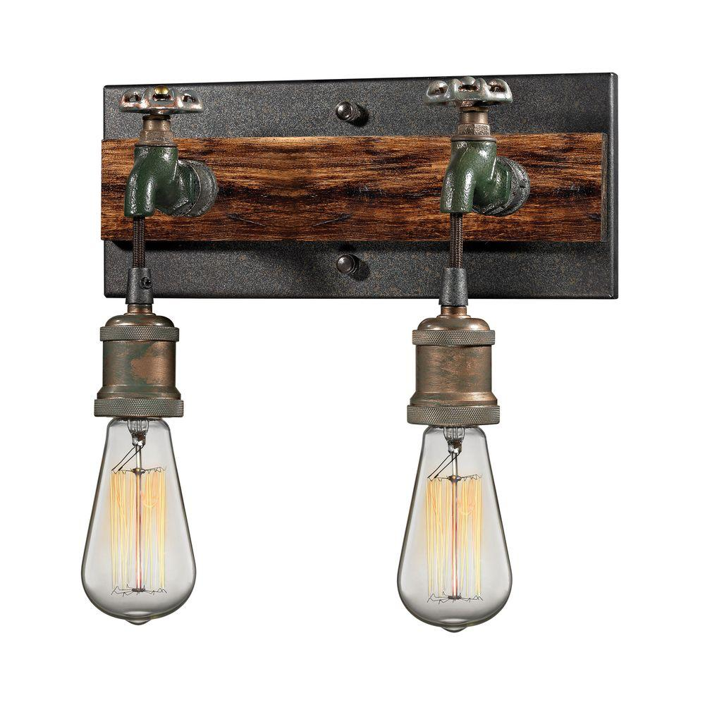 Titan Lighting Jonas 2-Light Multi-Tone Weathered Wall Sc...