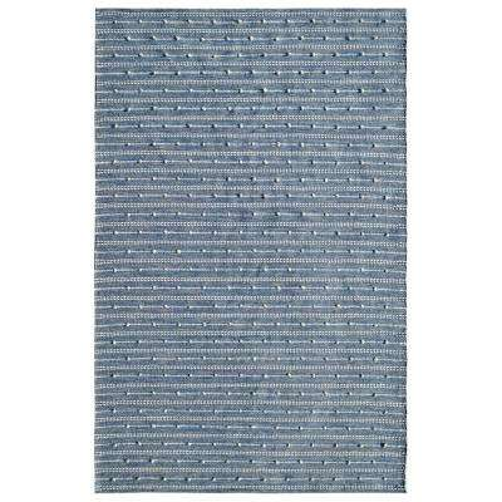 OAK BLUE/IVORY 4FTX 6FT MODERN COTTON/WOOL AREA RUG