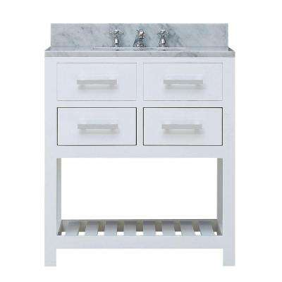 30 in. W x 21.5 in. D Vanity in White with Marble Vanity Top in Carrara White and Chrome Faucet