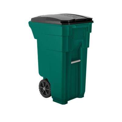 32 Gal. Green Plastic Curbside Commercial Trash Can with Wheels And Attached Lid