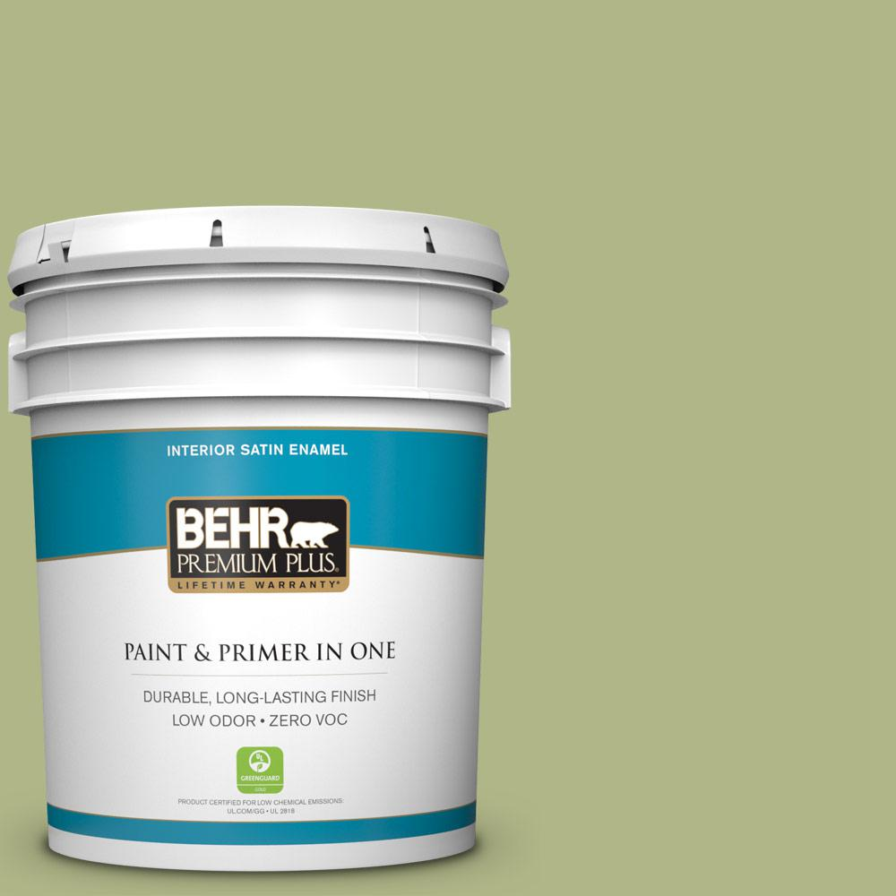 5 gal. #PPU10-07 Lima Green Zero VOC Satin Enamel Interior Paint