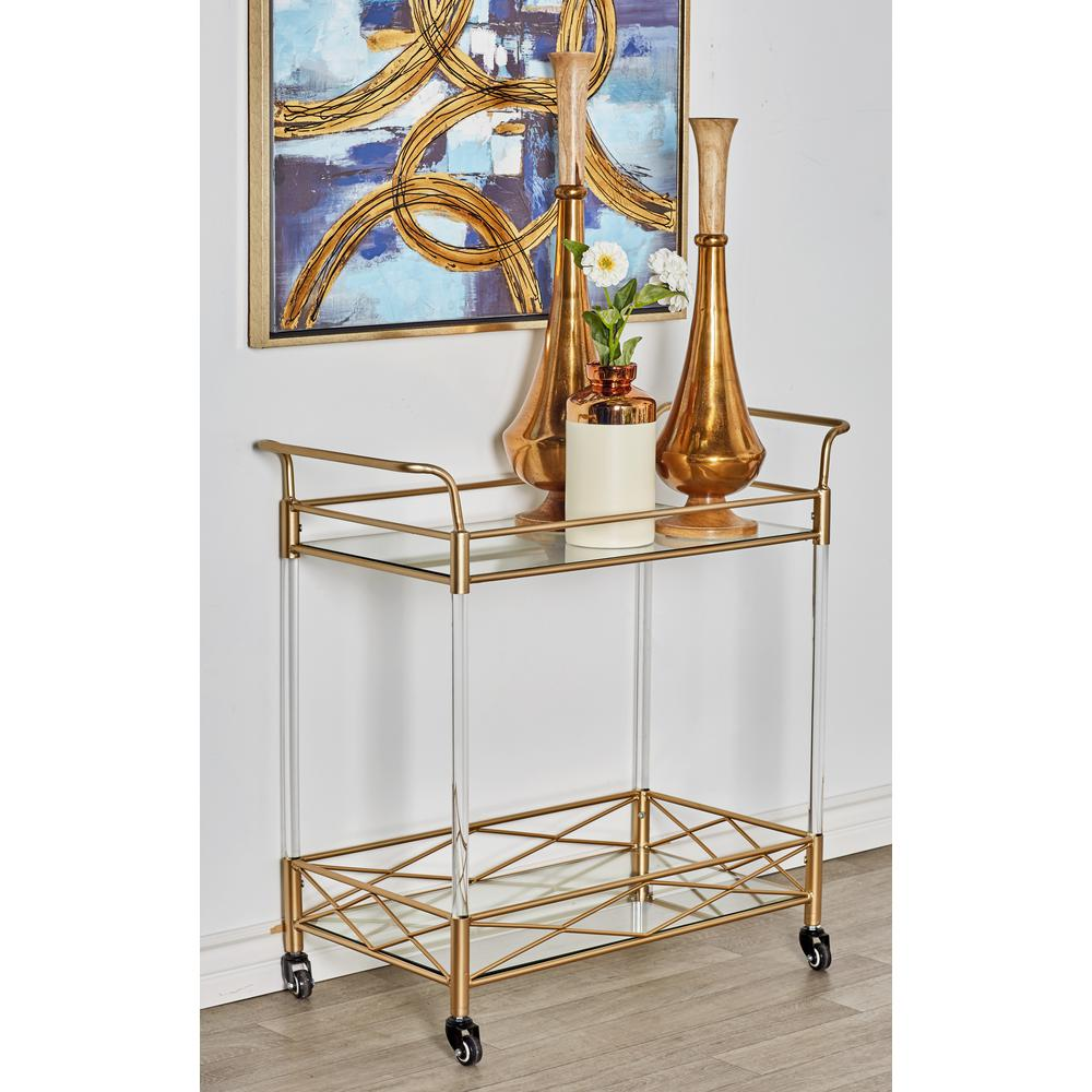 Gold 2-Tier Bar Cart