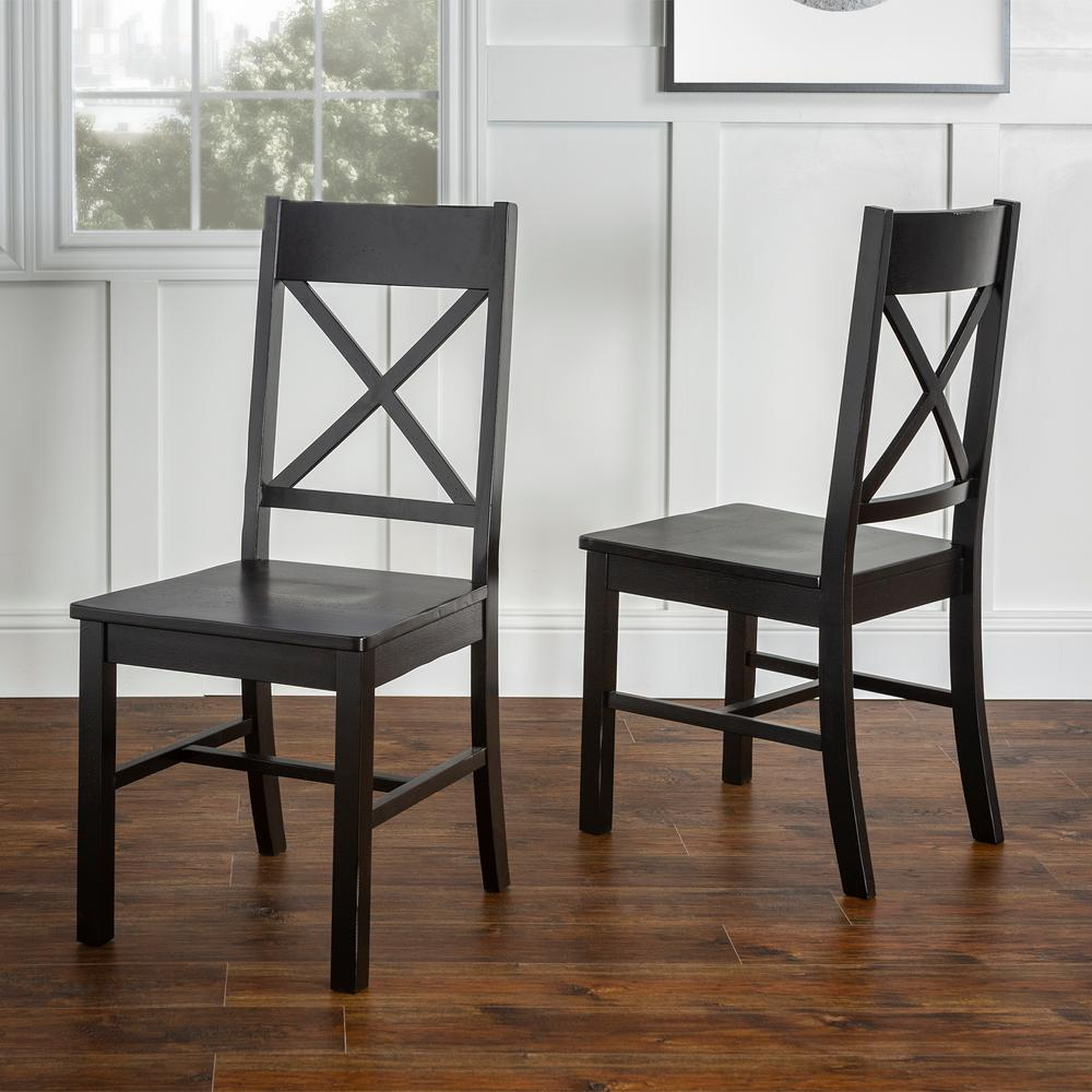 Walker Edison Furniture Company Millwright Antique Black Wood Dining Chair (Set of 2)
