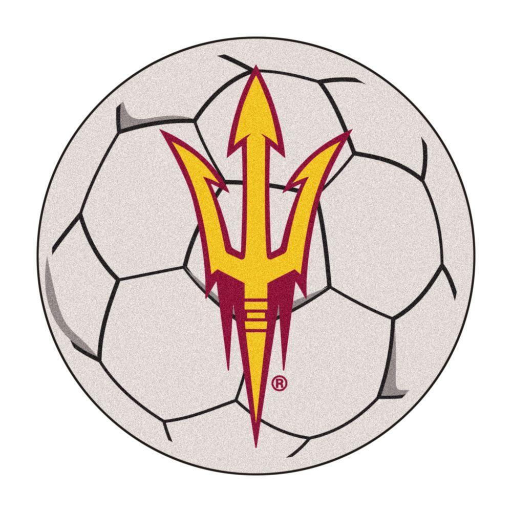 NCAA Arizona State University Pitchfork Logo Cream 2 ft. x 2 ft. Round Area Rug