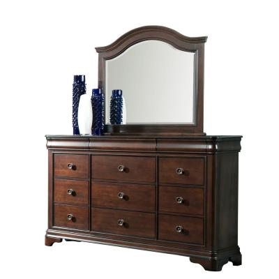 Conley 9-Drawer Cherry Dresser with Mirror