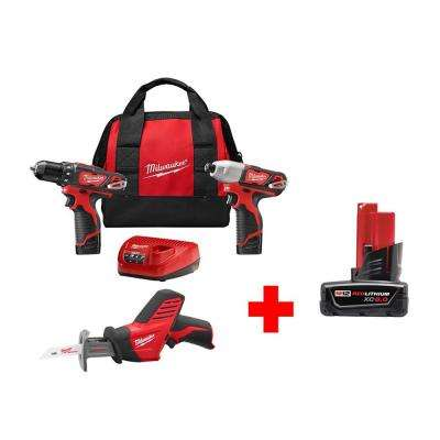 M12 12-Volt Lithium-Ion Cordless Combo Kit (3-Tool) with Free M12 6.0Ah Battery