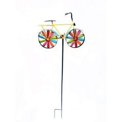 Metal Bicycle Windspinner Garden Stake - Display of 9