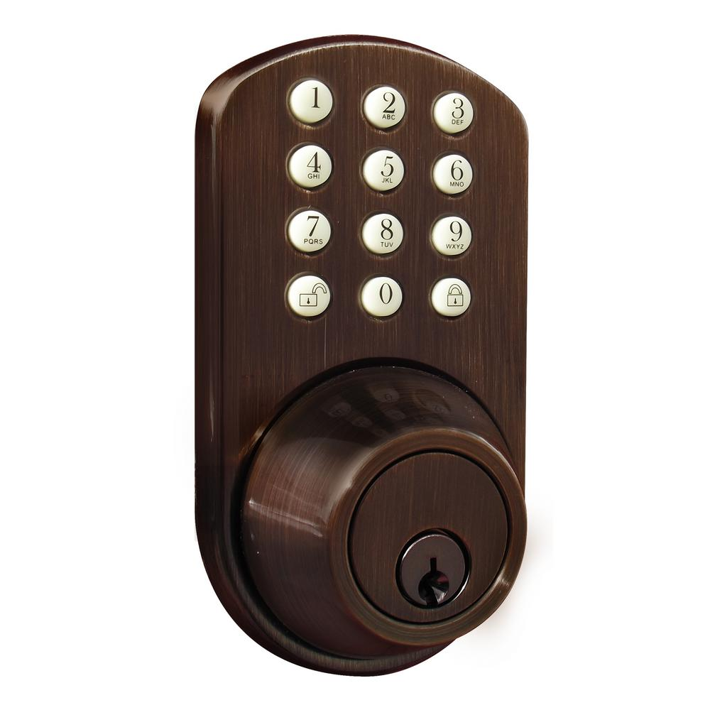 Single Cylinder Oil-Rubbed Bronze Touch Pad Electronic Deadbolt