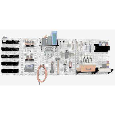 32 in. x 96 in. Metal Pegboard Master Workbench Tool Organizer with White Pegboard and Black Accessories