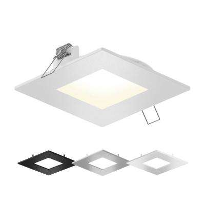 6 in. Color Selectable New Construction or Remodel IC Rated Recessed Integrated LED Square Kit