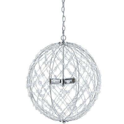 Silver Web 3-Light Polished Chrome Pendant with Plastic Bead Accents