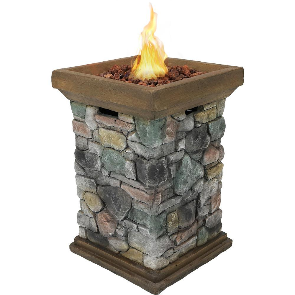 Sunnydaze Decor 30 in. Square Fiberglass Rock Column Design Propane Gas Fire Pit