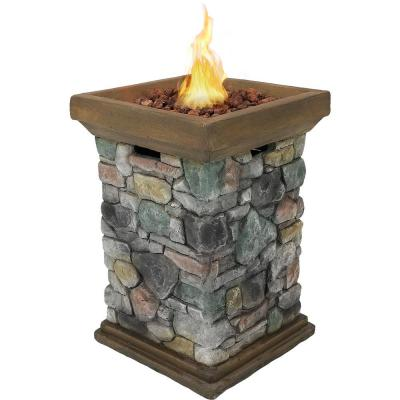 30 in. Square Fiberglass Rock Column Design Propane Gas Fire Pit