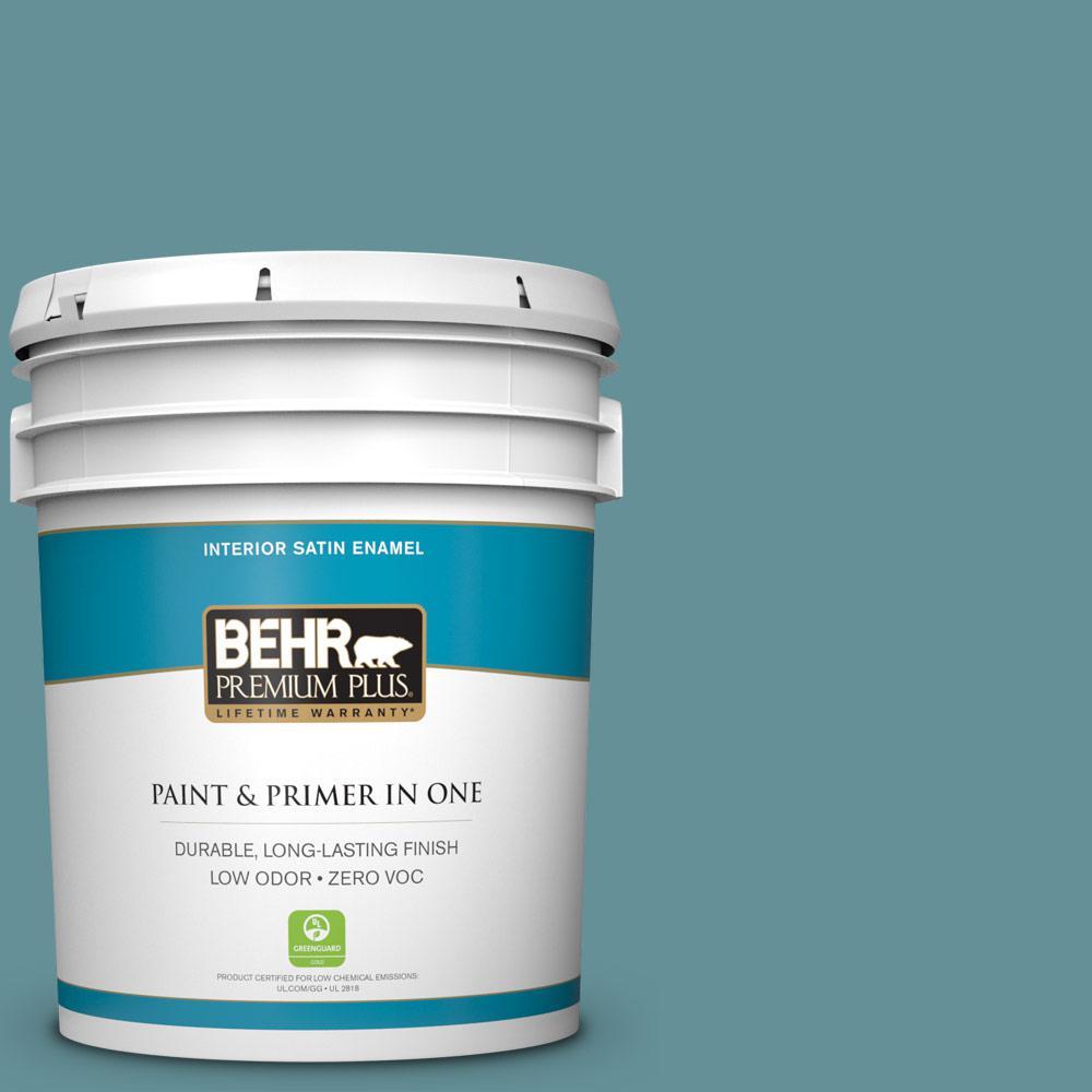 BEHR Premium Plus 5-gal. #510F-5 Bayside Zero VOC Satin Enamel Interior Paint