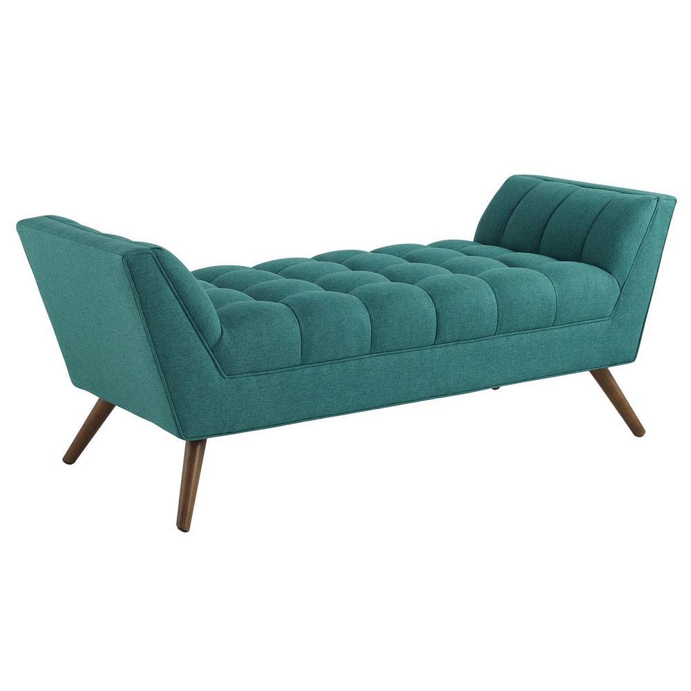 Teal Response Medium Upholstered Fabric Bench