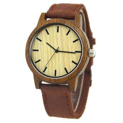 Canvas Band Wood Watch