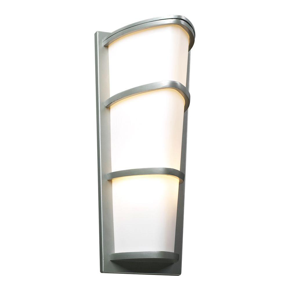 PLC Lighting 2-Light Outdoor Silver Wall Sconce with Matte Opal Glass