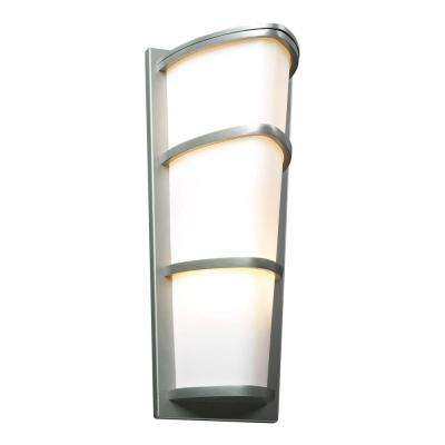 2-Light Outdoor Silver Wall Sconce with Matte Opal Glass
