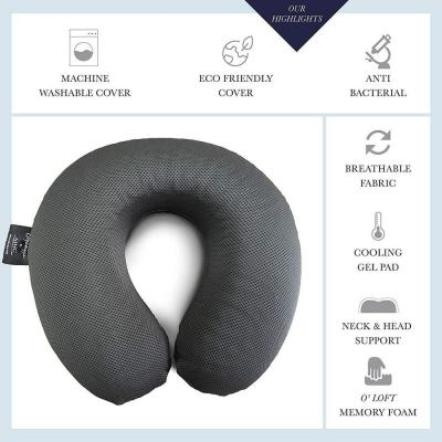 A1HC 11.5 in. x 11.8 in. x 3.5 in. Memory Foam Cooling Gel Neck Travel Pillow with Breathable Mesh Cover