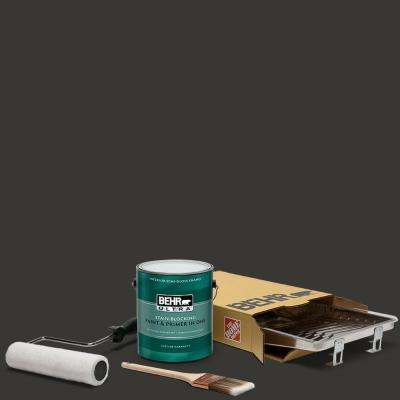 1 gal. Black Ultra Semi-Gloss Enamel Interior Paint and 5-Piece Wooster Set All-in-One Project Kit
