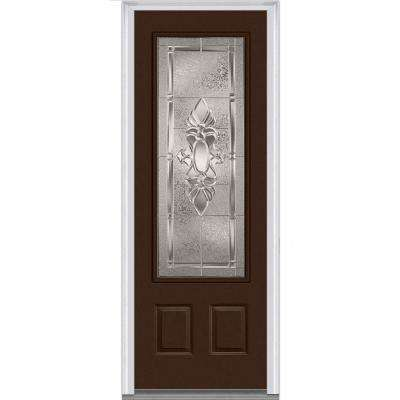 36 in. x 96 in. Heirloom Master Right-Hand Inswing 3/4-Lite Decorative Painted Fiberglass Smooth Prehung Front Door
