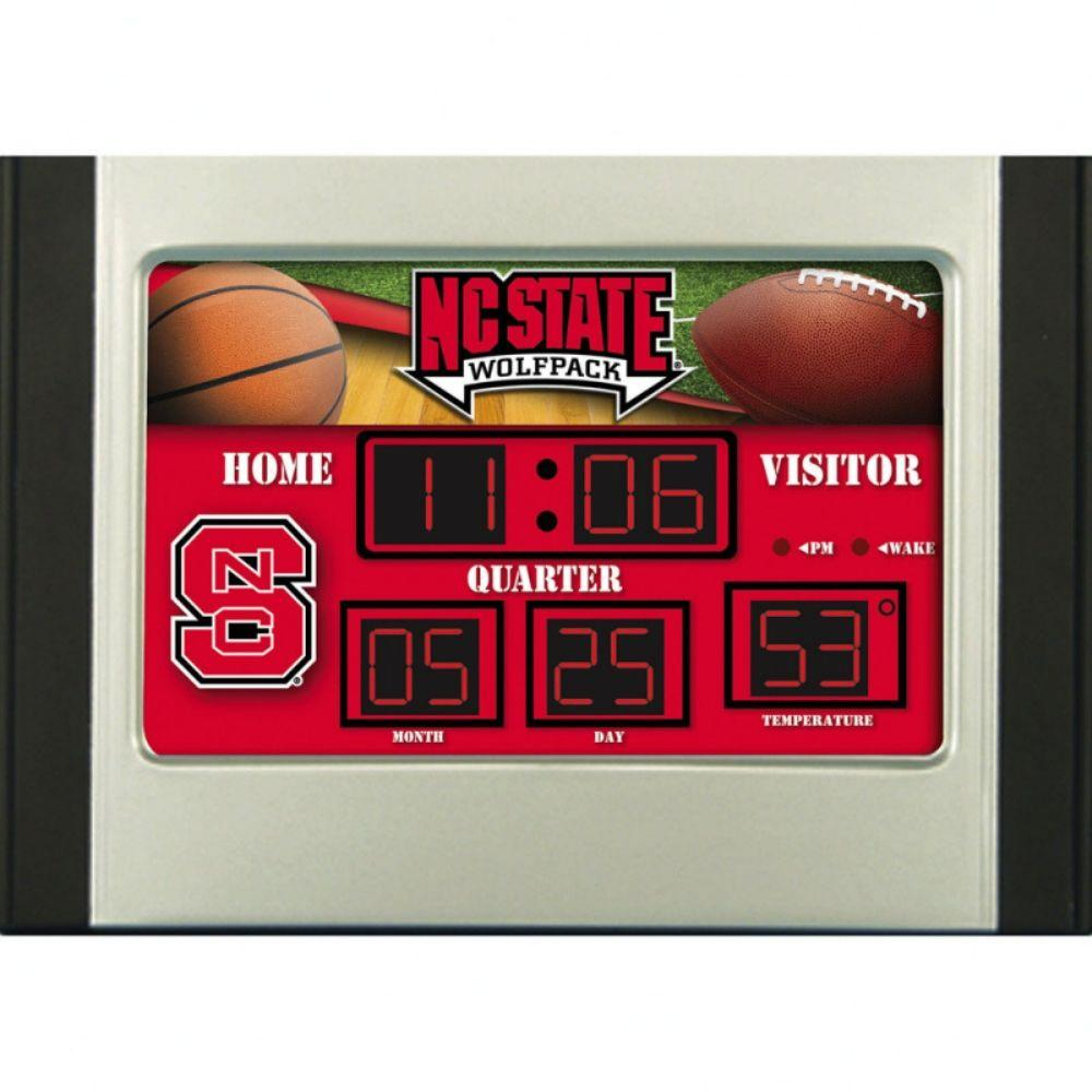 null North Carolina State University 6.5 in. x 9 in. Scoreboard Alarm Clock with TemperatureDISCONTINUED