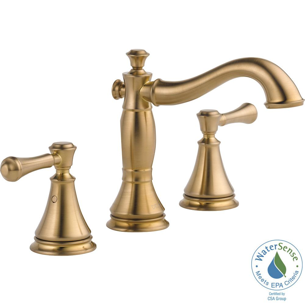 Delta Cassidy 8 in. Widespread 2-Handle Bathroom Faucet with Metal Drain Assembly in Champagne Bronze