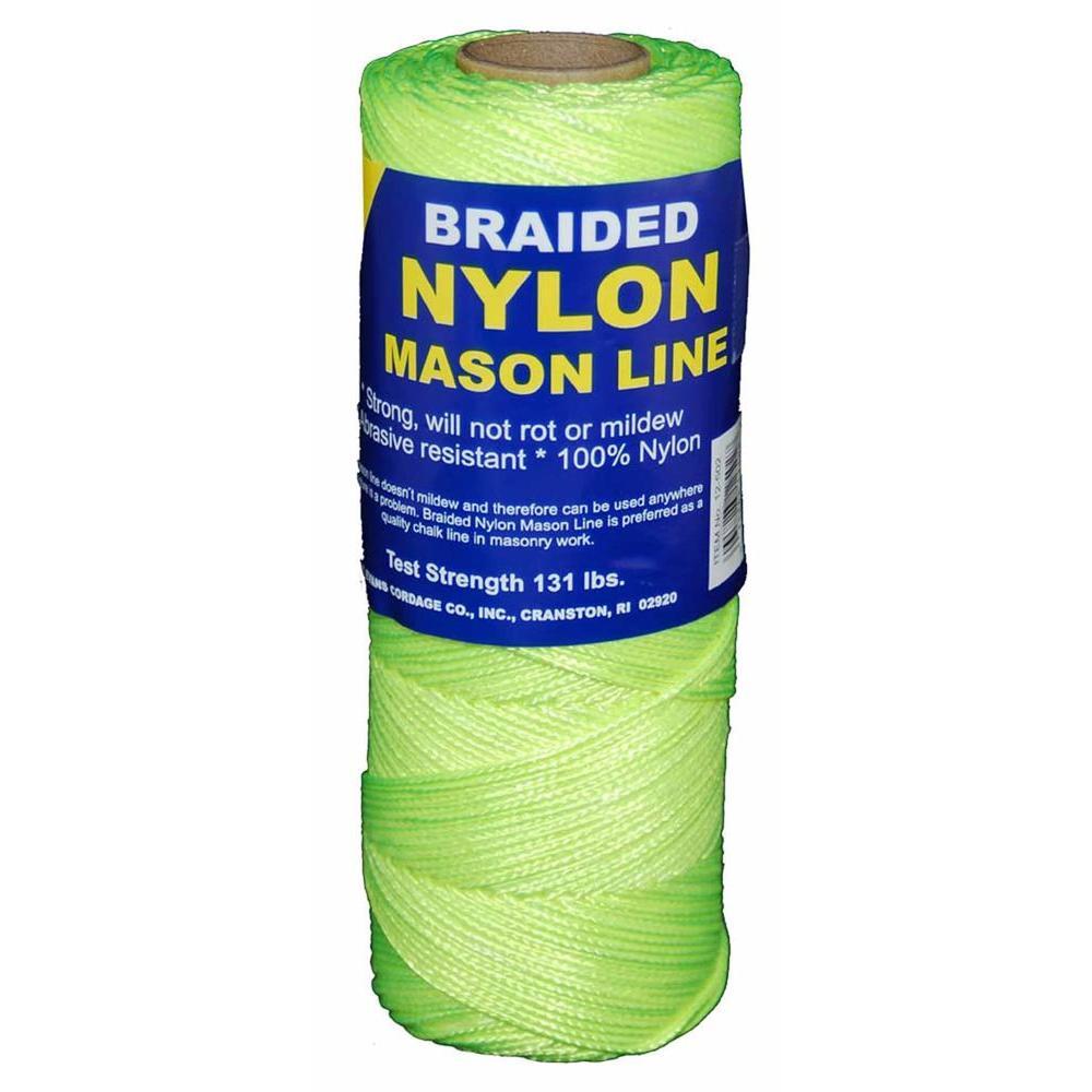 #1 x 500 ft. Braided Nylon Mason Fluorescent in Yellow